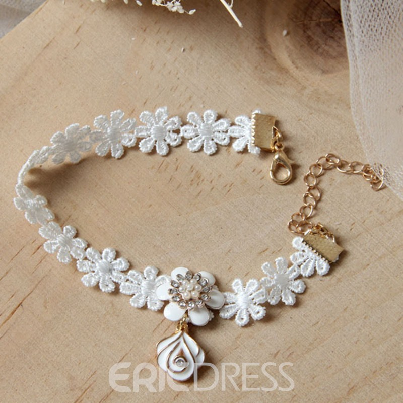 Ericdress Ladylike White Lace Pendant Women's Anklet