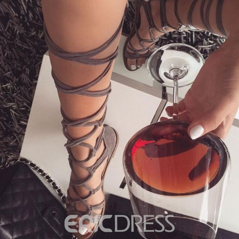 Ericdress Plain High Shaft Lace-Up Heel Covering Flat Sandals