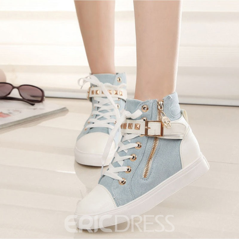 Ericdress Concise Lace up High Top White Shoes