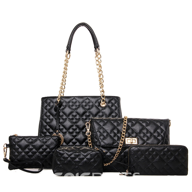 Ericdress Fashion Quilted Lining PU Handbag(5 Bags)