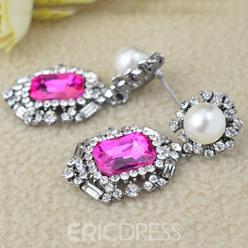 Ericdress Splendid Colored Rhinestone Pearl Earring for Women