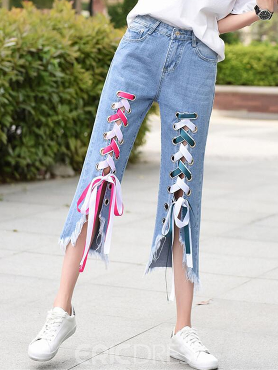 Ericdress Lace-Up Asymmetric Tassel Jeans