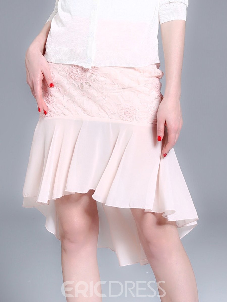 Ericdress Asymmetric Mesh Mini Skirt