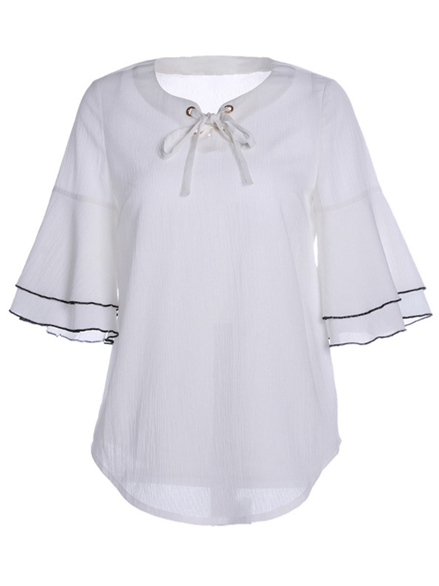 Ericdress Chiffon Bell Sleeve Solid Color Bowknot Blouse