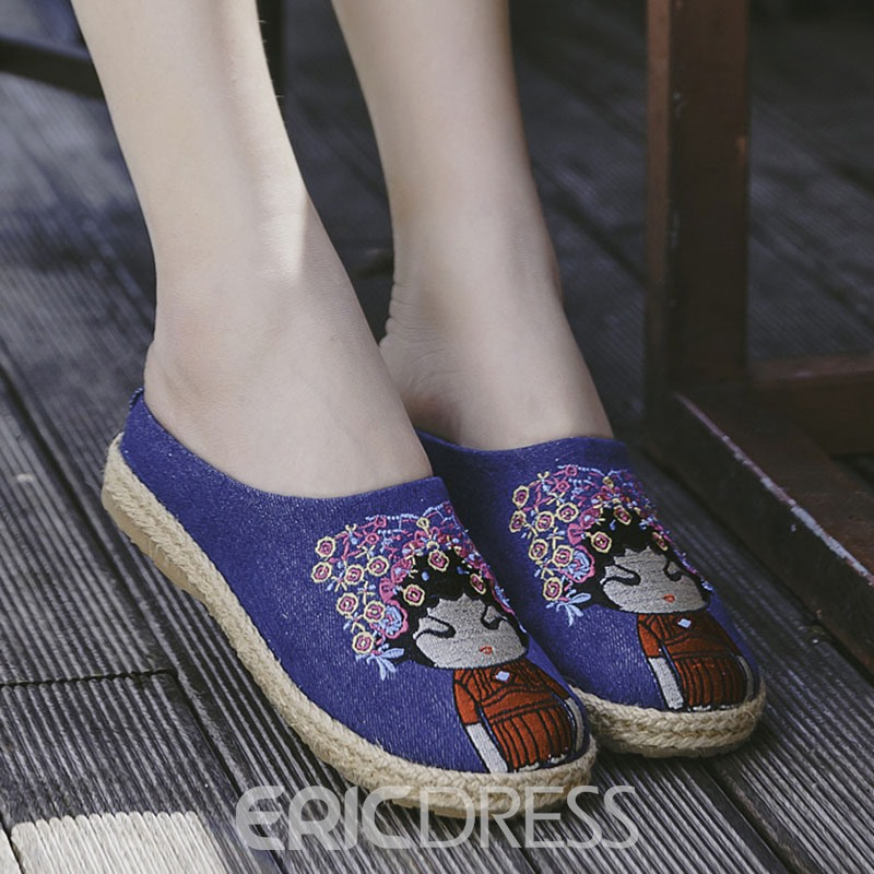 Ericdress Vintage Flax Closed Toe Mules Shoes