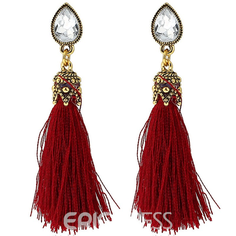 Ericdress Candy Color Tassel Alloy Drop Earring