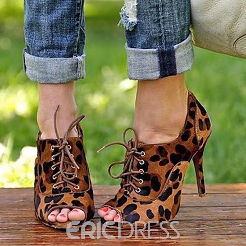 Ericdress Leopard Print Peep Toe Stiletto Heel Pumps