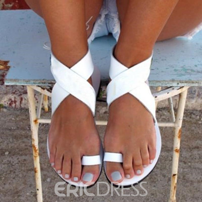 Ericdress White Toe Ring Flat Sandals
