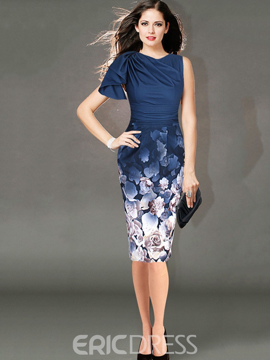 Ericdress European Asymmetric Bottom Print Bodycon Dress