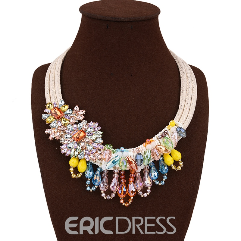 Ericdress Colorful Handmade Knitted Rhinestone Charm Necklace
