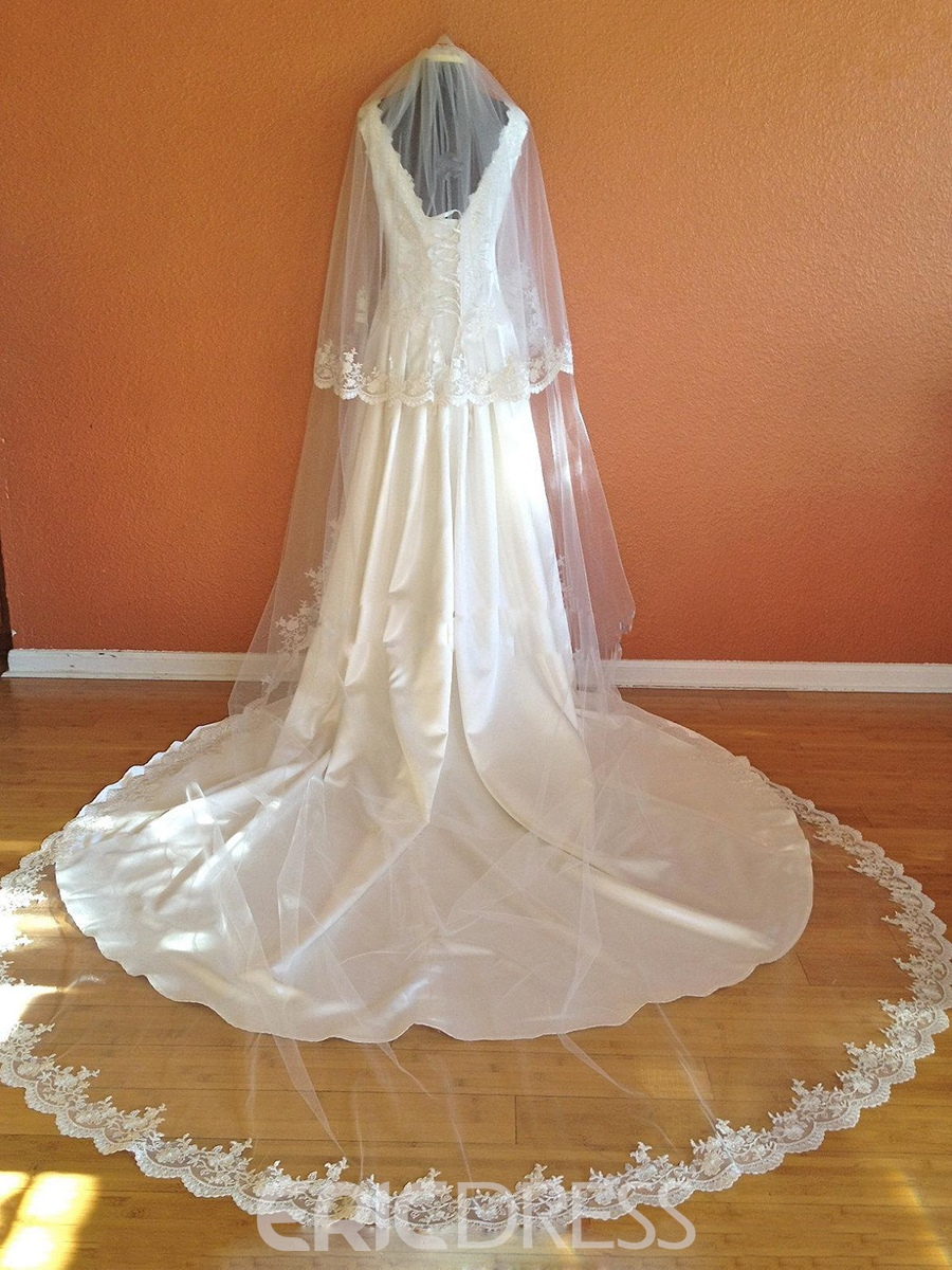 Ericdress Elegant Cathedral Wedding Veil Blusher Lace Edge