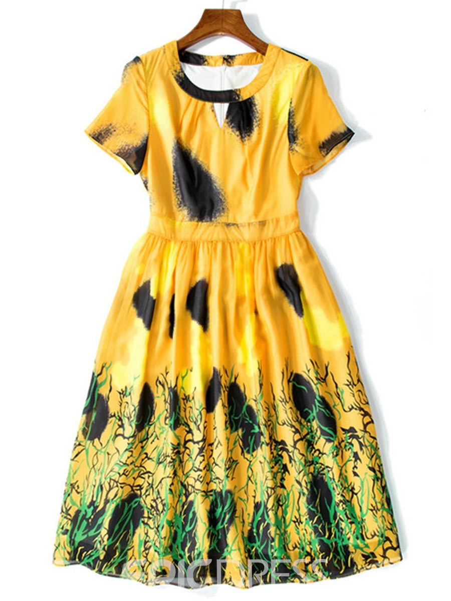 Ericdress Print Pleated Scoop A Line Dress