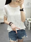Ericdress Lace Hollow Solid Color Short Sleeve Blouse