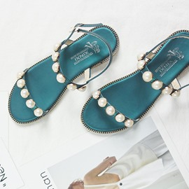 Ericdress Princess Pearl Open Toe Flat Sandals
