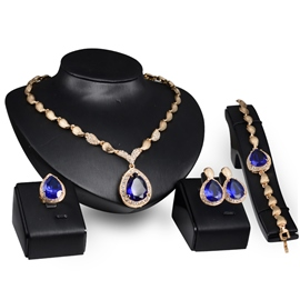 Ericdress Blue Sapphire Four-Piece Jewelry Set for Women