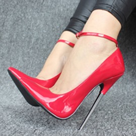 Ericdress Sexy Patent Leather Point Toe Ankle Strap Pumps