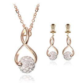 Ericdress Diamante Ball Pendant Two-Piece Jewelry Set