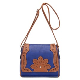 Ecolier vintage épaule forme floral decoration crossbody bag