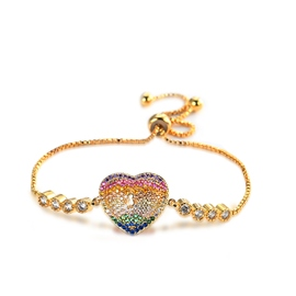 Ericdress Romantic Colorful Rhinestone Heart Bracelet for Women