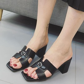 Ericdress All Match PU Open Toe Mules Shoes