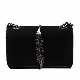Ericdress Metal Leaves Decoration Crossbody Bag