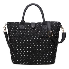 Ericdress Retro Black White Polka-Dot Handbag