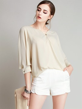 Ericdress Hollow V-Neck Batwing Sleeve Plain T-Shirt