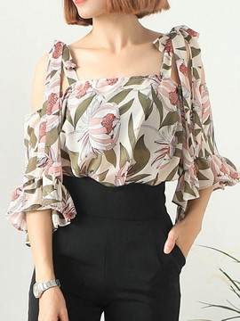 Ericdress Floral Print Bell Sleeve Cold Shoulder Blouse