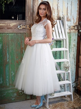 Ericdress V Neck A Line Tea Length Tulle Wedding Dress