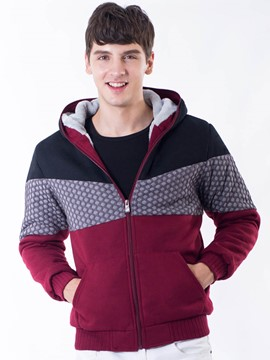 Ericdress Zipper Hooded Pullover Color Block Thicken Men's Hoodie