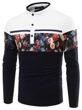 Ericdress Stand Collar Color Block Floral Long Sleeve Men's T-Shirt