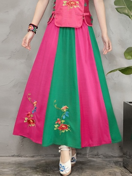 Ericdress Ankle-Length Patchwork Embroidery Usual Skirts