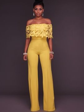 Ericdress Lace Slash Neck Wide Legs Jumpsuits Pants