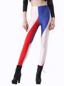 Ericdress Mid-Waist Color Block Leggings Pants