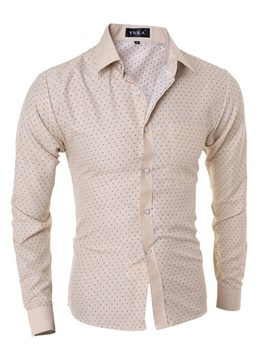 Ericdress Polka Dots Long Sleeve Classic Slim Men's Shirt
