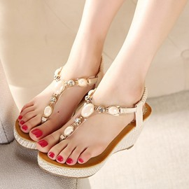 Ericdress Bohemian Beads Platform Wedge Sandals