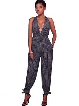 Ericdress Deep V-Neck Backless Jumpsuits Pants