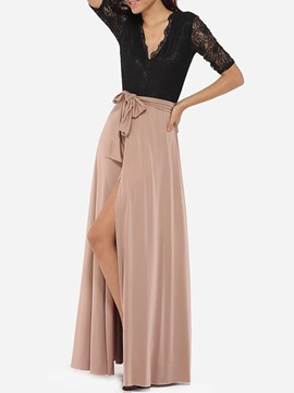 Ericdress Color Block Patchwork Split Short Sleeve Maxi Dress