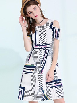 Ericdress Simple Printing Off-The-Shoulder High-Waist A Line Dress
