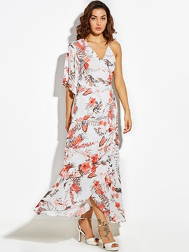 Ericdress One-Shoulder Half Sleeves Asymmetric Maxi Dress