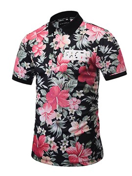 Ericdress Casual Flower Short Sleeve Men's Shirt