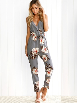 Ericdress Lace-Up Backless Print Jumpsuits Pants