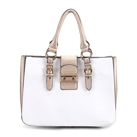 Ericdress Simple Color Block Thread PU Handbag