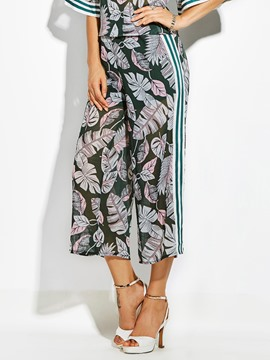Loose Plant Print Wide Legs Women's Pants