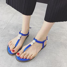Ericdress Roman Pearl T Strap Thong Flat Sandals