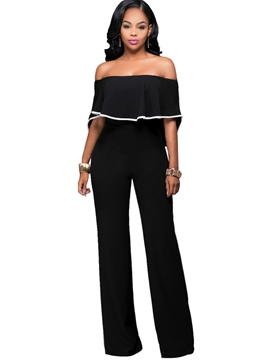 Ericdress High-Waist Off Shoulder Wide Leg Women's Jumpsuit
