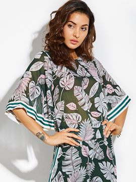 Ericdress Round Neck Plant Print Flare Sleeve Women's Top