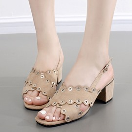 Ericdress All Match Suede Rivets Decorated Chunky Sandals