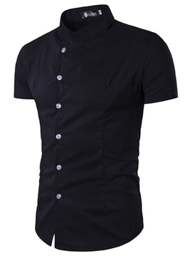 Ericdress Plain Slim Stand Collar Short Sleeve Men's Shirt