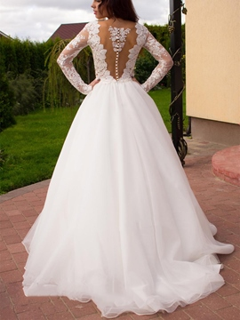 Ericdress Deep V Neck Long Sleeves Lace Wedding Dress